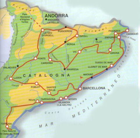 Cartina Spagna Catalogna.Spagna Barcellona E Catalogna