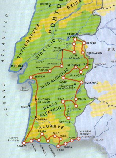 Cartina Geografica Algarve.Portogallo Alentejo E Algarve